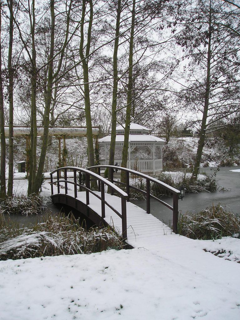 Minstrel Court lake Wedding Pavilion in winter