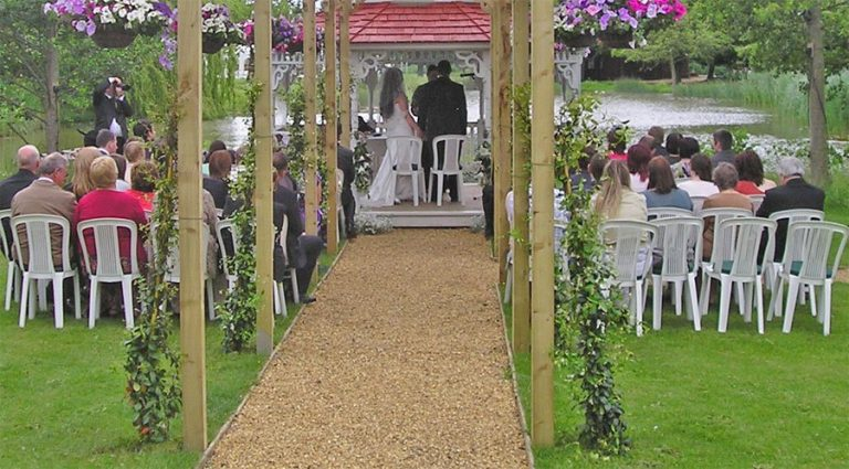 Minstrel Court lake Wedding Pavilion overlooking the lake