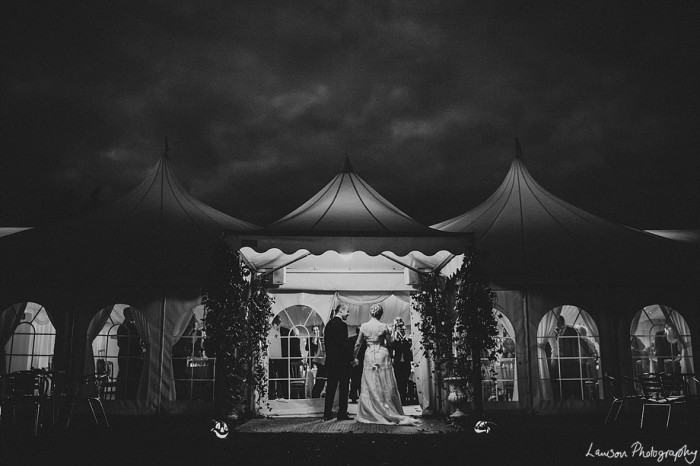 Minstrel Court Weddings - Marquee entrance at night