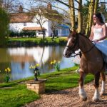 Minstrel Court Weddings - The bride on horeseback in the Spring