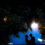 Minstrel Court Wedding Venue - Bride and Groom against the sun