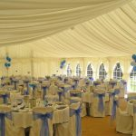 Minstrel Wedding Marquee - Blue Sashes