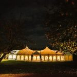 Minstrel Wedding Marquee - at night from the gardens