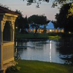 Minstrel Wedding Marquee - at night from the Pavilion