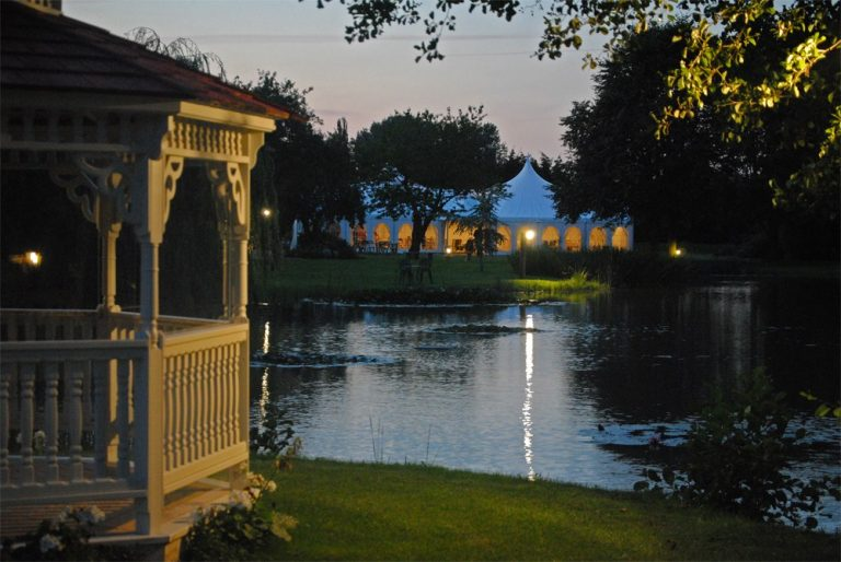 Minstrel Court lake Wedding Pavilion at night