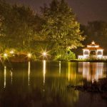 Minstrel Court lake Wedding Pavilion illuminated at night
