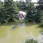 Minstrel Court lake Wedding Pavilion from a Drone