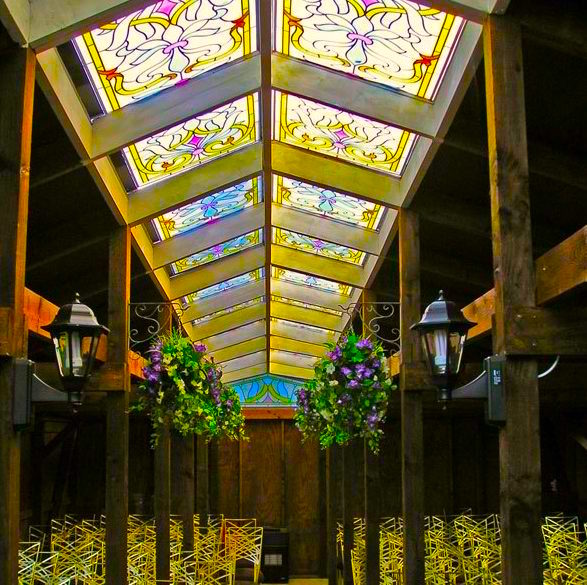 Minstrel Court Wedding Meadow Chapel - the stained glass ceiling