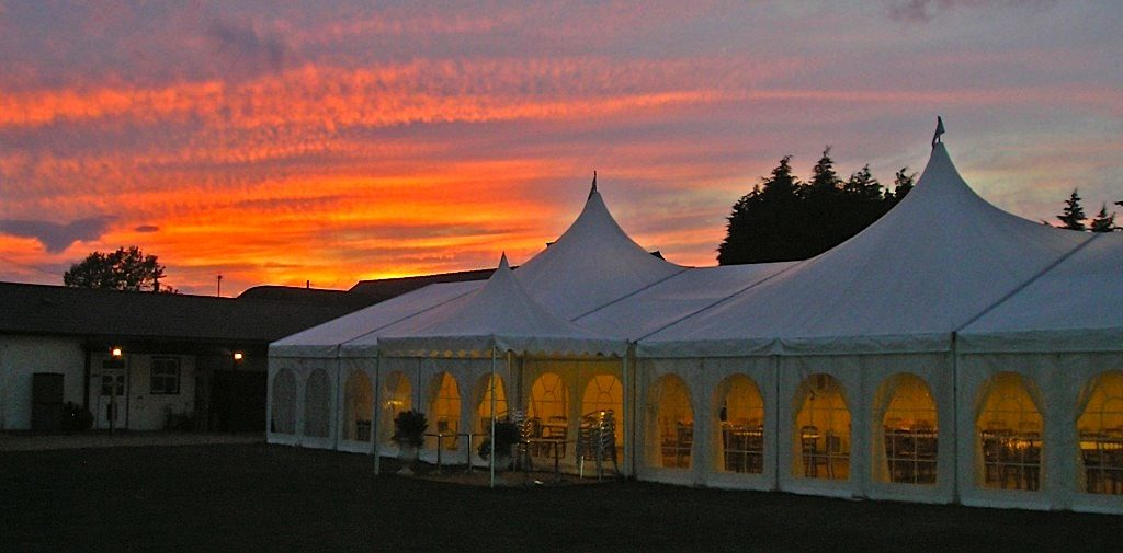 Minstrel Court Weddings - Sunset over the Marquee