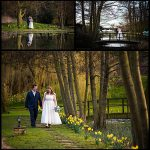 Minstrel Court Wedding Venue - Spring Daffodils and a bride and groom