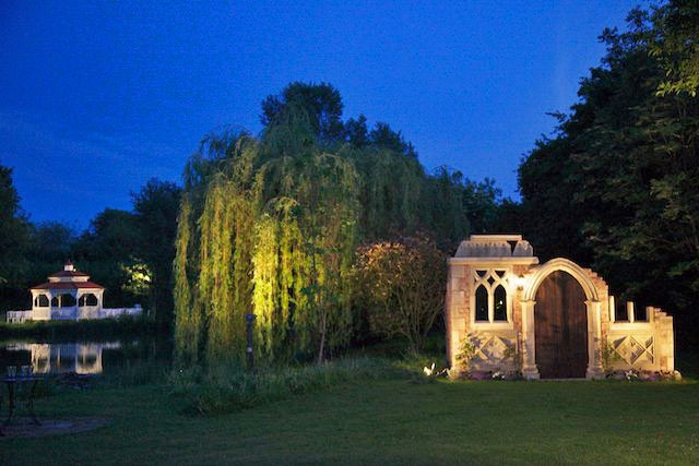 Minstrel Court weddings - the folly and pavilion at night