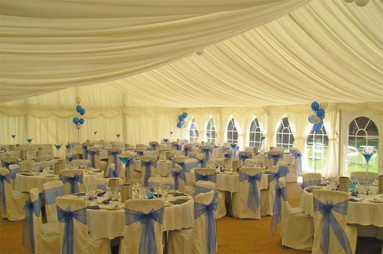 Minstrel Wedding Marquee - Blue Sashes