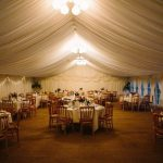 Minstrel Wedding Marquee - Chandeliers at night