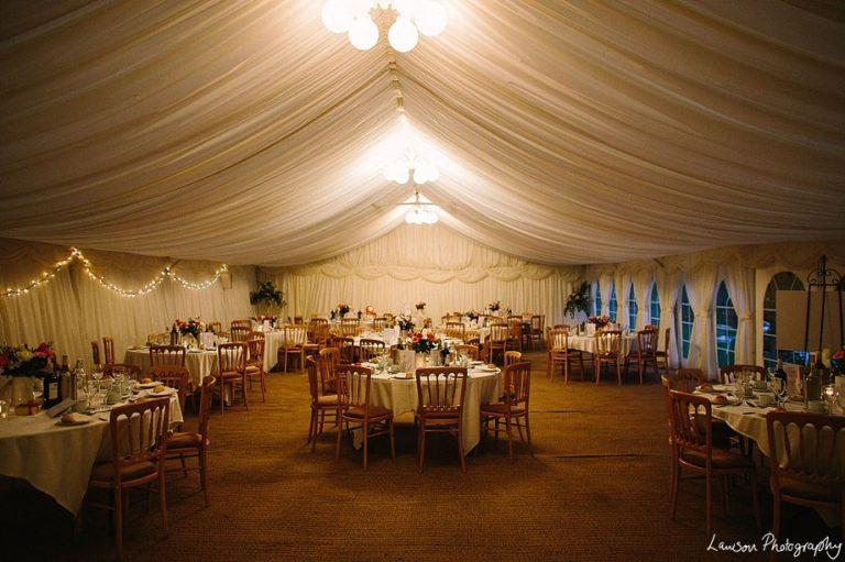 Minstrel Wedding Marquee - Chandeliers at night