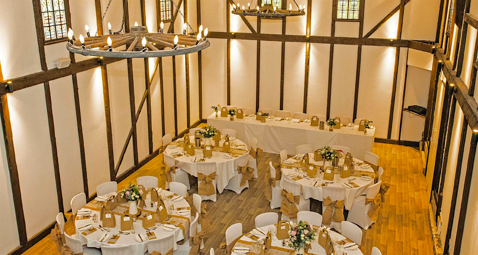 Minstrel Court Wedding Venue - Hessian sashes in the Regency Barn